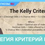Стратегия критерий Келли для ставок на спорт